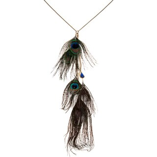 Betsey Johnson Peacock Feather Fashion Y Necklace