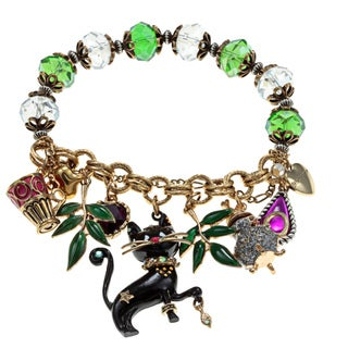Betsey Johnson Cat Charm Stretch Bracelet