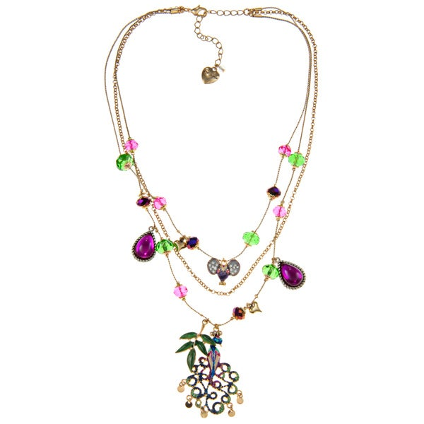Betsey Johnson Peacock Charm Fashion Necklace