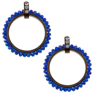 Betsey Johnson Blue Cubic Zirconia Hoop Earrings