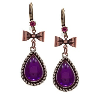 Betsey Johnson Purple Cubic Zirconia Earrings