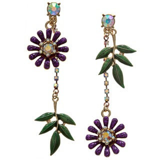 Betsey Johnson Cubic Zirconia Flower Leaf Earrings