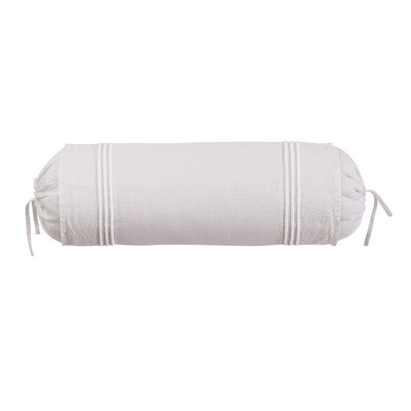 Roxbury Park Baratto Linen Ivory On Ivory Neck Roll Decorative Pillow
