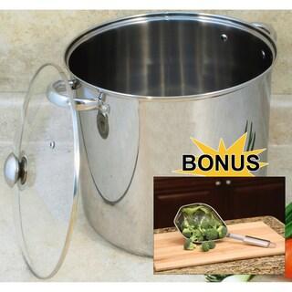 Stainless Steel 16-quart Lidded Stock Pot and Scoop Colander Set