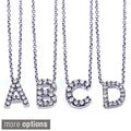 Annello 14k White Gold Diamond Mini Initial Letter Necklace