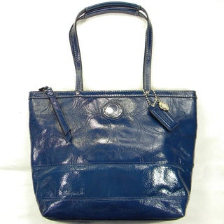 Coach Patent Leather Blue Logo-stitched Tote Bag