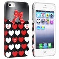 BasAcc Red/ White Heart Rear Rubber Coated Case for Apple iPhone 5