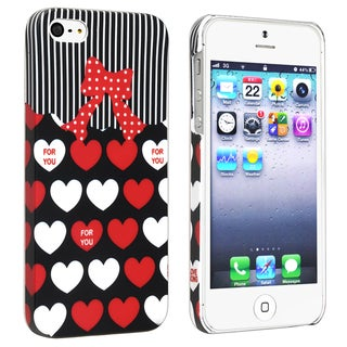 BasAcc Red/ White Heart Rear Rubber Coated Case for Apple iPhone 5/ 5S
