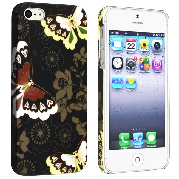 INSTEN Flower Rear Style 52 Rubber Coated Phone Case Cover for Apple iPhone 5/ 5S
