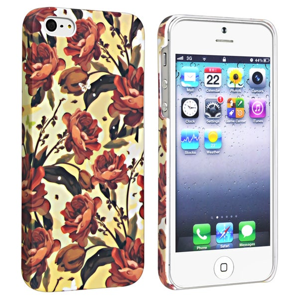 BasAcc Flower Rear Style 50 Rubber Coated Case for Apple iPhone 5