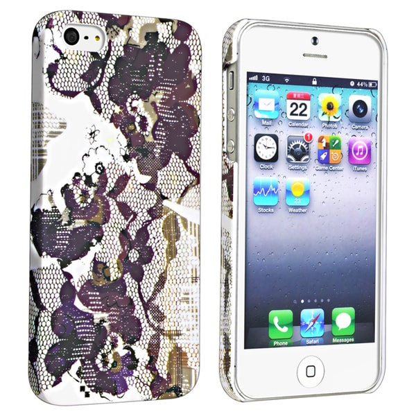 BasAcc Flower Rear Style 46 Rubber Coated Case for Apple iPhone 5