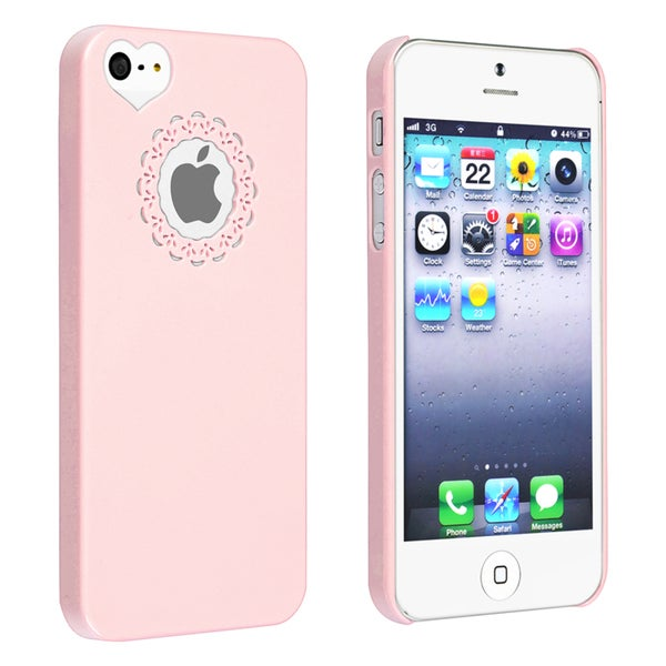 INSTEN Light Pink Sweet Heart Rear Snap-on Phone Case Cover for Apple iPhone 5/ 5S