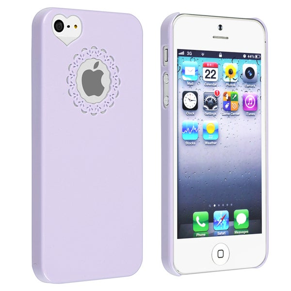 BasAcc Purple Sweet Heart Rear Snap-on Case for Apple iPhone 5