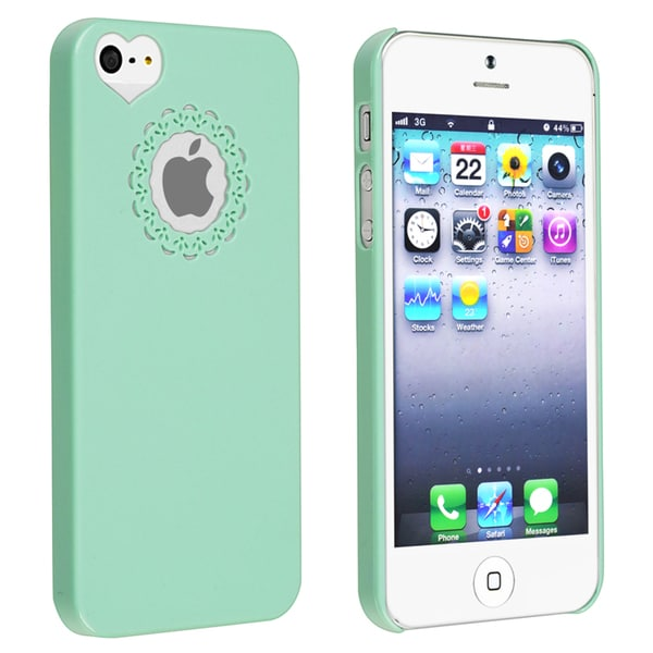 INSTEN Mint Green Sweet Heart Rear Snap-on Phone Case Cover for Apple iPhone 5/ 5S