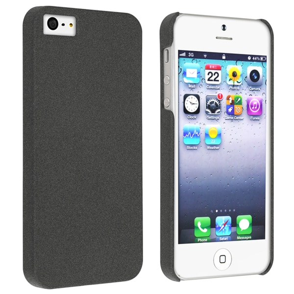INSTEN Black Quicksand Snap-on Phone Case Cover for Apple iPhone 5/ 5S