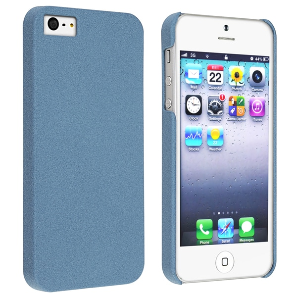 INSTEN Blue Quicksand Snap-on Phone Case Cover for Apple iPhone 5