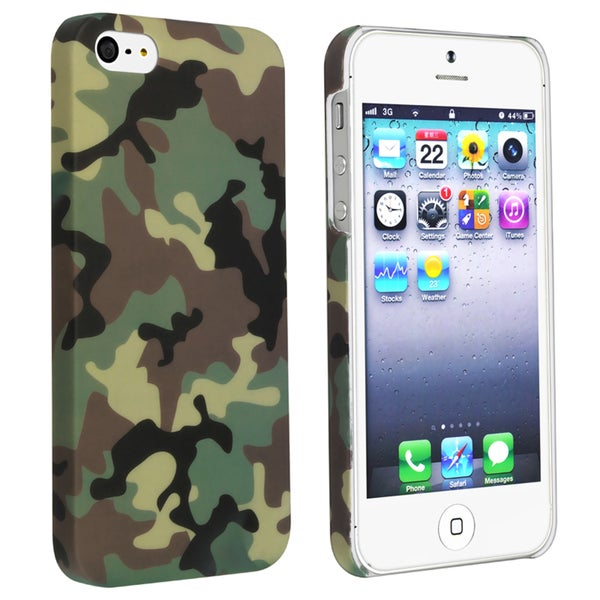 BasAcc Green Camouflage Rear Rubber Coated Case for Apple iPhone 5