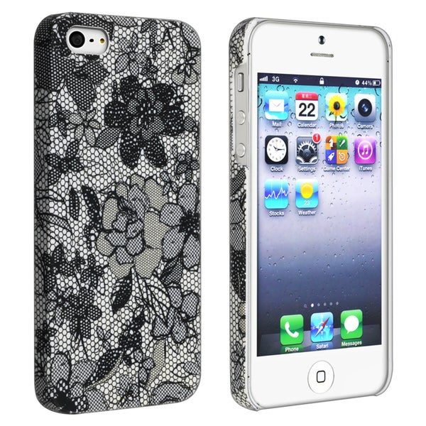 INSTEN Flower Rear Style 49 Rubber Coated Phone Case Cover for Apple iPhone 5/ 5S
