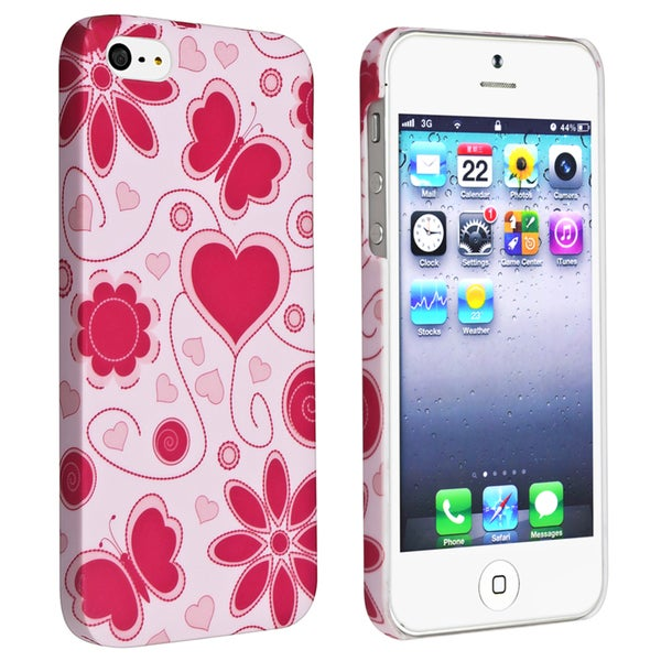 INSTEN Flower Rear Style 48 Rubber Coated Phone Case Cover for Apple iPhone 5/ 5S
