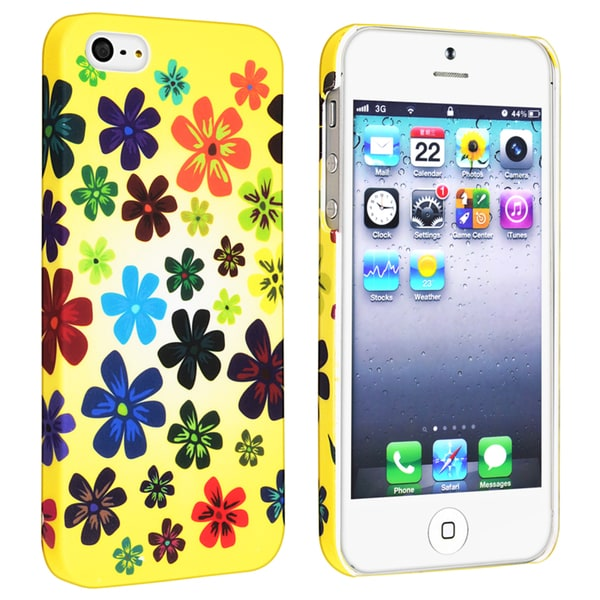 INSTEN Flower Rear Style 41 Rubber Coated Phone Case Cover for Apple iPhone 5/ 5S