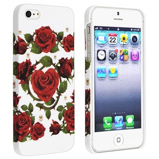 BasAcc White/ Red Roses Rear Rubber Coated Case for Apple iPhone 5/ 5S
