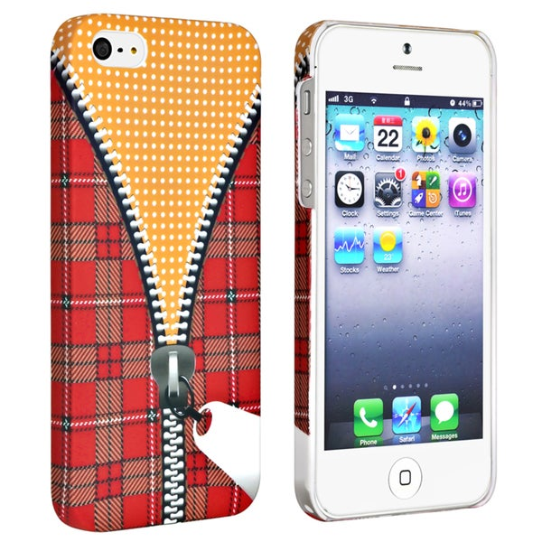 INSTEN Zipper Rear Rubber Coated Phone Case Cover for Apple iPhone 5