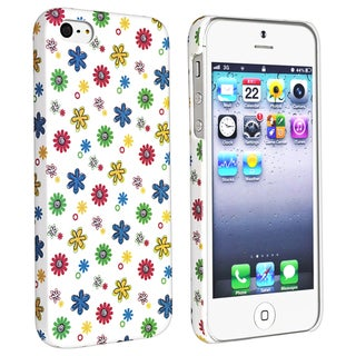 BasAcc White/ Flower Style 10 Rubber Coated Case for Apple iPhone 5