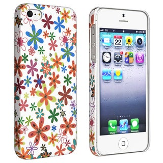 BasAcc White/ Flower Style 37 Rubber Coated Case for Apple iPhone 5