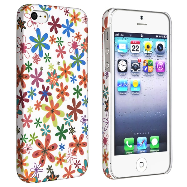 BasAcc White/ Flower Style 37 Rubber Coated Case for Apple iPhone 5/ 5S