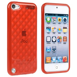 Insten Red Clear Argyle TPU Rubber Candy Skin Glossy Case Cover For Apple iPod Touch 5th/ 6th Gen