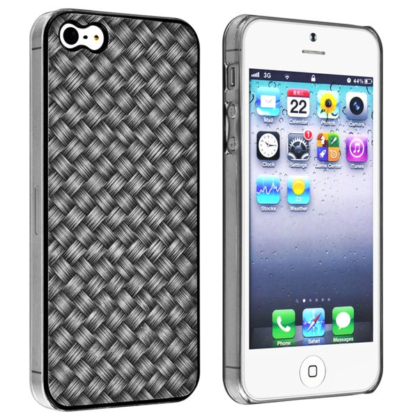 INSTEN Black Twill Snap-on Phone Case Cover for Apple iPhone 5/ 5S