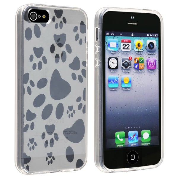 BasAcc Clear White Dog Paw TPU Rubber Case for Apple iPhone 5