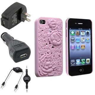 BasAcc Pink Case/ Black Chargers/ Cable for Apple� iPhone 4/ 4S
