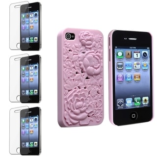 BasAcc Light Pink Rose Case/ Screen Protector for Apple� iPhone 4/ 4S