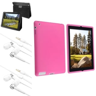 INSTEN Pink Soft Silicone Tablet Case Cover/ Leather Tablet Case Cover/ Headset for Apple iPad 2