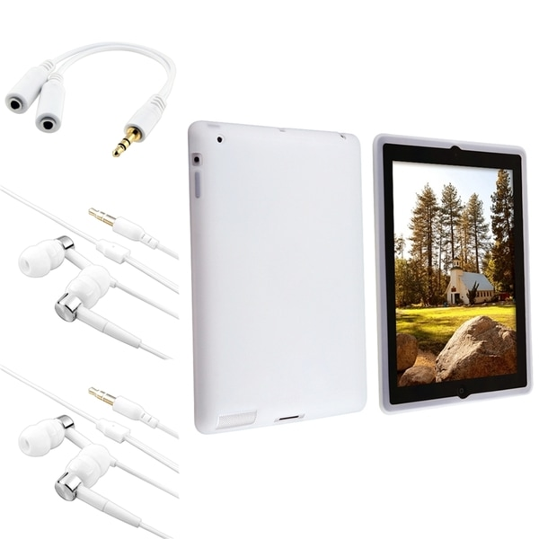 BasAcc White Silicone Case/ Headset/ Splitter for Apple® iPad 2