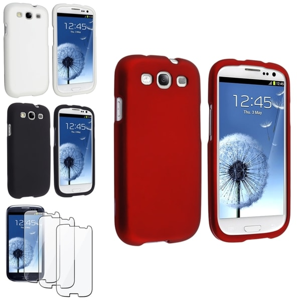 INSTEN Black/ White/ Red Phone Case Cover/ Screen Protector for Samsung Galaxy S3