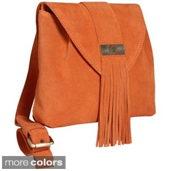 Alla Leather Art Women's 'Havasu' Fringe Accented Crossbody