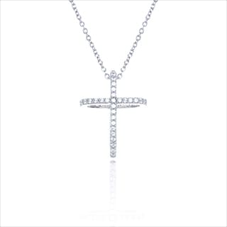 Blue Box Jewels Sterling Silver Cubic Zirconia Floating Cross Necklace