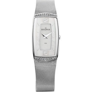 Skagen Women's Stainless Steel Rectangular Crystal Watch