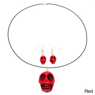 Stone Skull Necklace and Earrings Jewelry Set