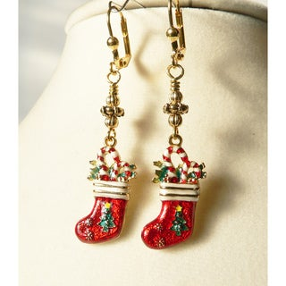 Palmtree Gems 'Christmas Stocking' Dangle Earrings