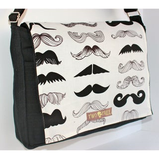 Handmade Medium Black Mustache Messenger Bag