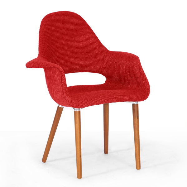 Baxton Studio 'Forza' Red Fabric Mid-Century Modern Arm Chairs (Set of 2)