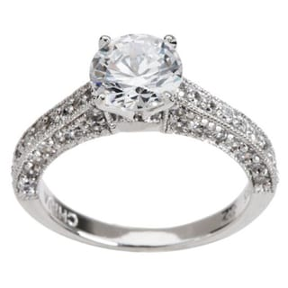 Platinum-plated Sterling Silver Cubic Zirconia Ring