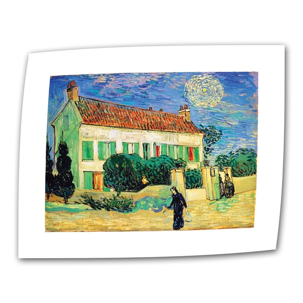 Vincent van Gogh 'The White House at Night' Flat Canvas Art