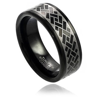Vance Co. Men's Tungsten Black Enamel Engraved Argyle Pattern Band (8 mm)