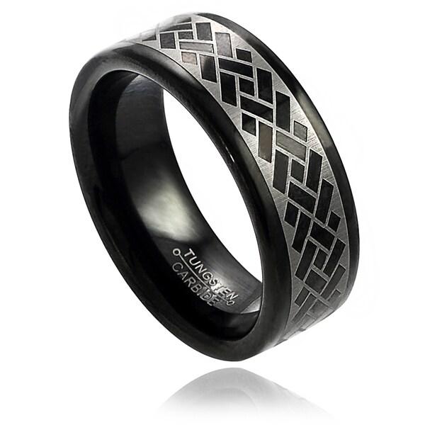 Vance Co. Men's Tungsten Black Enamel Engraved Argyle Pattern Band (8 mm)