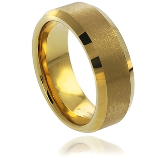 Vance Co. Men's Goldplated Tungsten Polished Center Beveled Edge Band (8 mm)