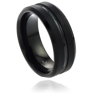 Vance Co. Men's Tungsten Black Enamel Grooved and Beveled Edge Band (8 mm)